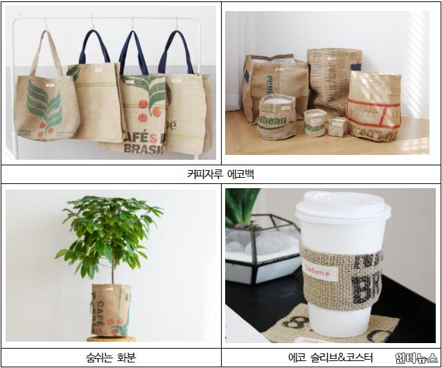 새활용된커피자루원단으로 만든 제품들.png